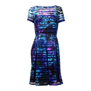 Tahari Women's Printed Shadow Stripe Fit & Flare Dress - black/aqua/violet