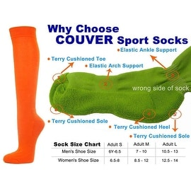 Light Orange Couver Knee High Unisex Sports Athletic Baseball Softball Socks(3 Pairs)