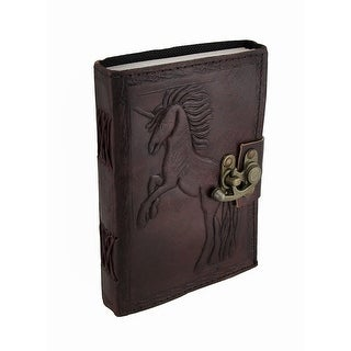 Jumping Unicorn Embossed Leather Journal w/Swing Clasp - brown