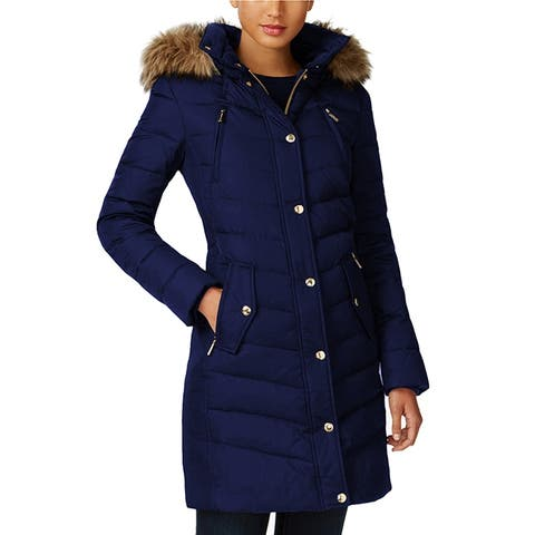 Michael Kors Navy Blue Down Coat Quilted Jacket 3/4