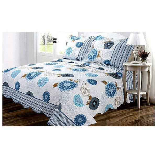 3 Piece Queen King Cal King White Blue Gray Orange Floral