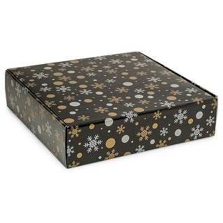 """Pack Of 6, 12 X 12 X 3"""" Christmas Elegance Gourmet Shipping Auto Lock Boxes 1-Piece W/Fold-Over Lid"""