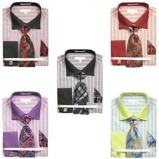 Men's Printed Honeycomb French Cuff Shirt with Tie Handkerchief Cufflinks