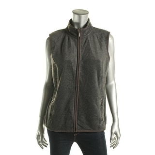 Karen Scott Womens Zero Proof Fleece Mock Neck Casual Vest - pl