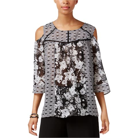 Ny Collection Womens Cold-Shoulder Knit Blouse