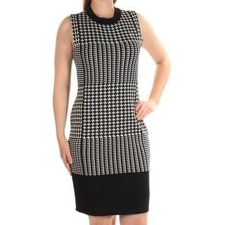Womens Black Houndstooth Sleeveless Knee Length Body Con Wear To Work Dress Size: XXL