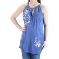 INC Womens Blue Embroidered Beaded Sleeveless Keyhole Top  Size: XS