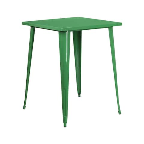 Offex 31.5'' Square Bar Height Green Metal Indoor-Outdoor Table