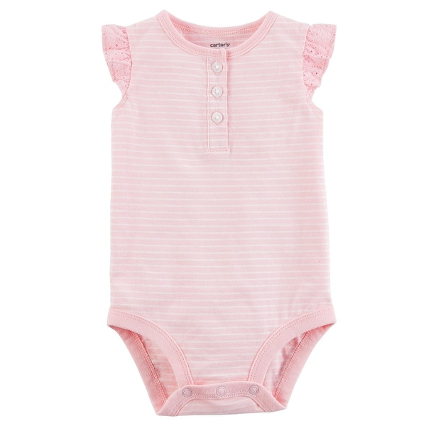 1326d6108e7d2 Shop Carter's Baby Girls' Striped Flutter-Sleeve Collectible Bodysuit, 3  Months - Free Shipping On Orders Over $45 - Overstock - 25623893