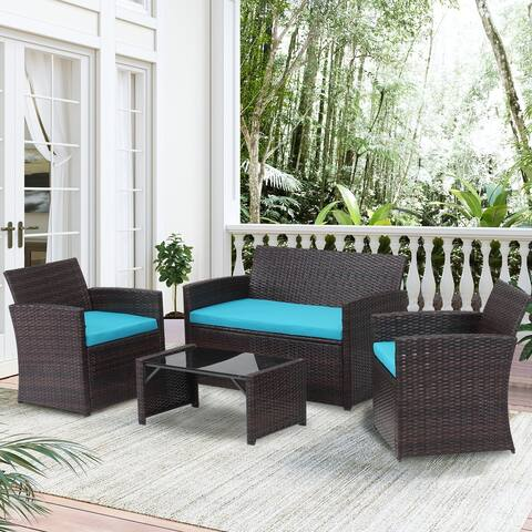 Ainfox 4 Pcs Outdoor Furniture Set Patio Rattan Sofa Chair with Coffee Table