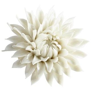"Cyan Design 09112  Wall Flowers 1-1/2"" x 3-1/2"" Botanical Ceramic Wall Decor - Off White Glaze"
