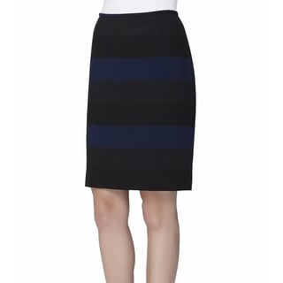 Tahari By ASL NEW Blue Black Women's Size 4P Petite Straight Skirt