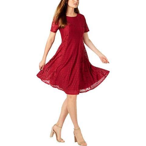 NY Collection Womens Petites Casual Dress Lace Above Knee