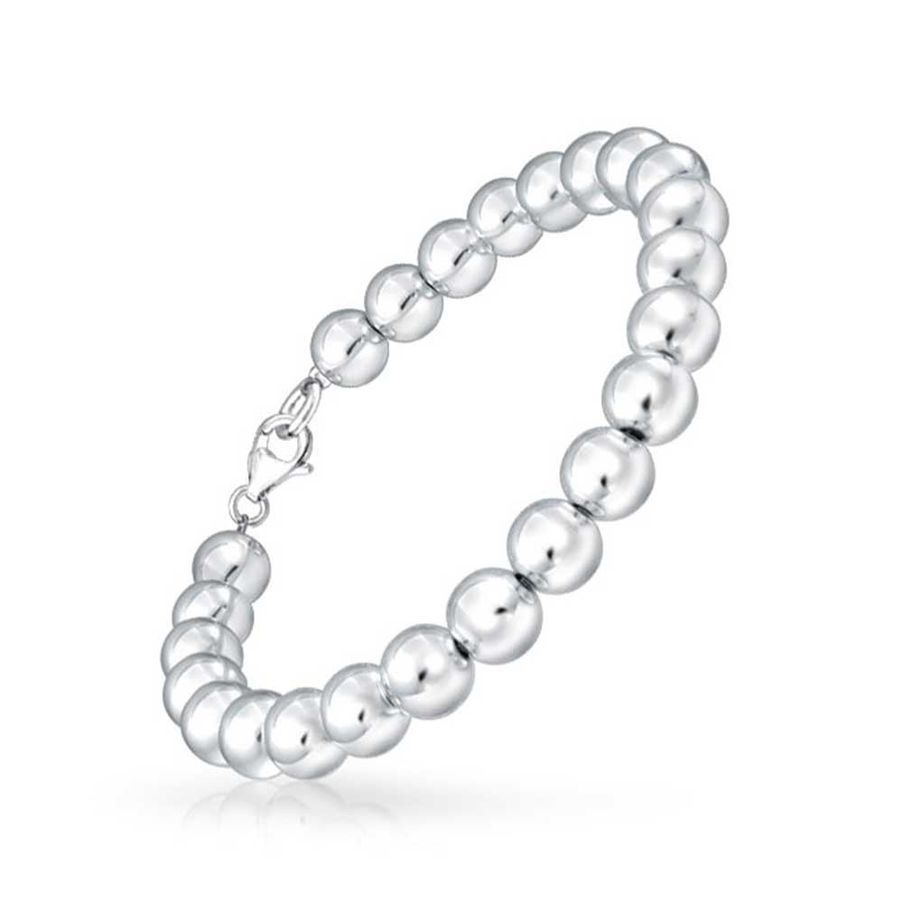 1ae3ffb19 Shop Classic Round Ball Bead Strand Bracelet For Women Shinny High Polish  925 Sterling Silver 8mm - On Sale - Free Shipping On Orders Over $45 -  Overstock - ...