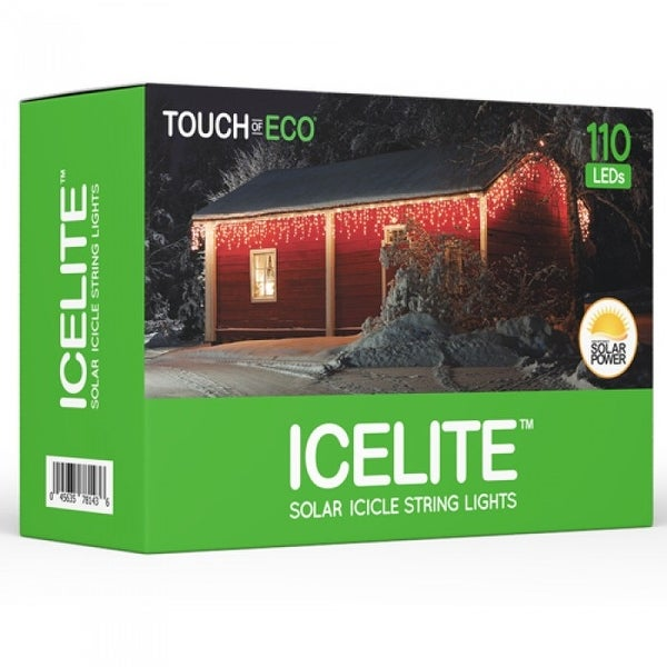 ICELITE Solar Icicle String 110 LED Lights For Holiday Or Party