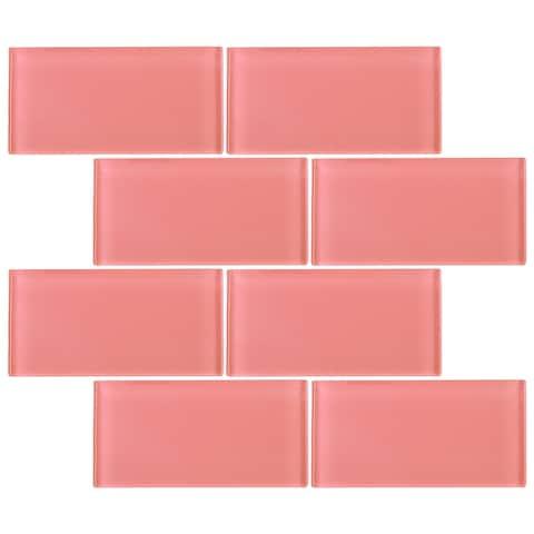 "TileGen. 3"" x 6"" Glass Subway Tile in Pink Wall Tile (80 tiles/10sqft.)"
