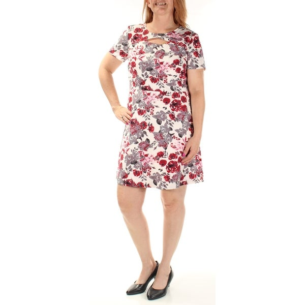 01fe32a715fab Shop KENSIE Womens Ivory Cut Out Zippered Floral Short Sleeve Jewel Neck  Above The Knee Shift Party Dress Size: L - Free Shipping On Orders Over $45  ...