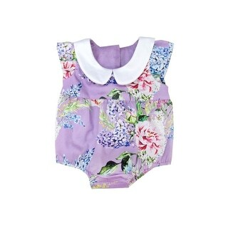 Sophie Catalou Baby Girls Wisteria Peter Pan Collar Floral Bubble Romper