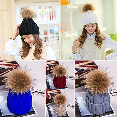 Women Fashion Winter Warm Cute Casual Fur Ball Beanie Knitted Cap Crochet Hat