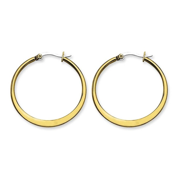 Stainless Steel Gold-plated Tapered 34mm Hoop Earrings