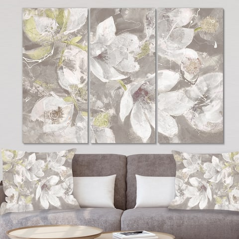 Designart 'Beige And Brown Blossiming Flowers' Farmhouse Canvas Artwork
