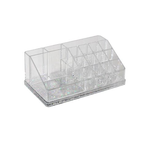 Simplify 16 Compartment Cosmetic Organizer with Floating Glitter Bottom in Pink