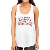 Scary Without A Costume Bloody Hands Womens White Graphic Tank Top