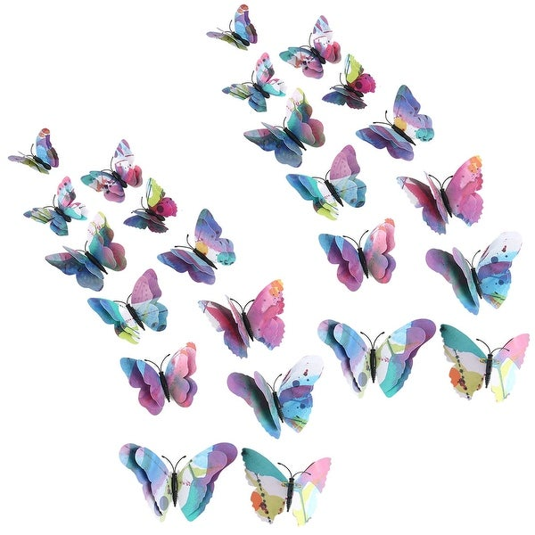 24pcs 3D Butterfly Sticker Pin Type for Room Decoration Blue Purple - Blue, Purple