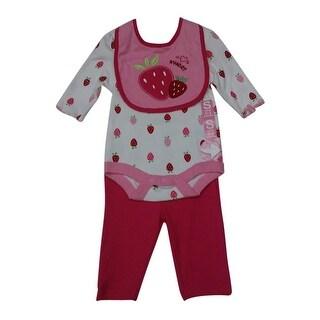 Bon BeBe Baby Girls Fuchsia Pink Strawberry Bodysuit Bib Pants Outfit