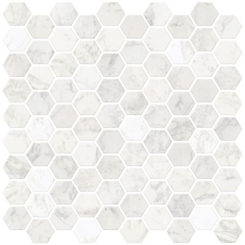 "Brewster NH2359 Hexagon 10"" x 10"" Square Geometric Self-Adhesive Resin Peel and Stick Backsplash Tiles - White"