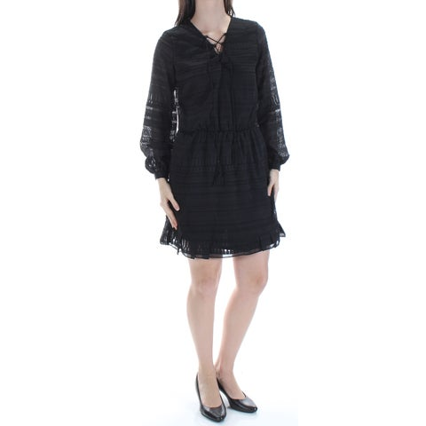 JESSICA SIMPSON Womens Black Tie Long Sleeve V Neck Above The Knee A-Line Dress Size: S