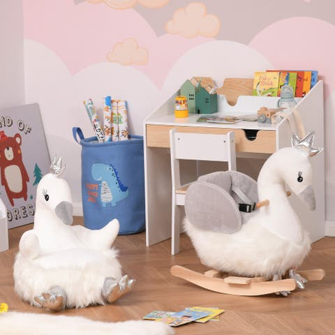 "Qaba Animal Kids Sofa Chair Cartoon Cute Swan Stuffed with Armrest Flannel PP Cotton 22"" x 16.5"" x 22"" White"