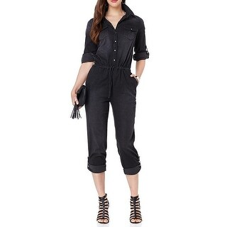 Wendy Williams NEW Black Womens Size Small S Denim Front Tie Jumpsuit