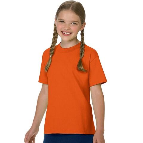 Hanes Authentic TAGLESS® Kids' Cotton T-Shirt - Size - L - Color - Orange