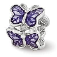 Sterling Silver Reflections Purple Enameled Butterfly Bead (4mm Diameter Hole)