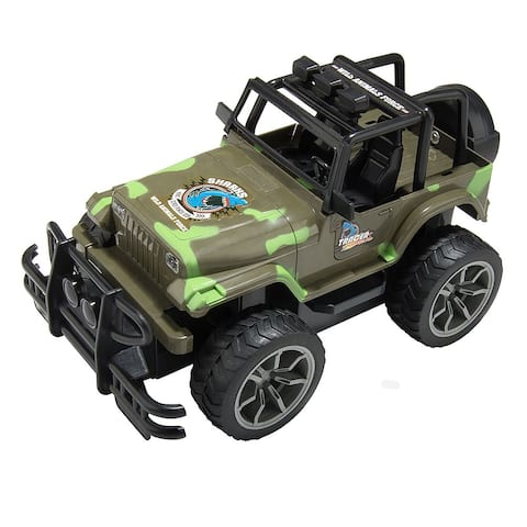 """Military Camouflage High Speed All Terrain Car Remote Control 4x4 Sports Utility Jeep - 9'6"""" x 13'"""