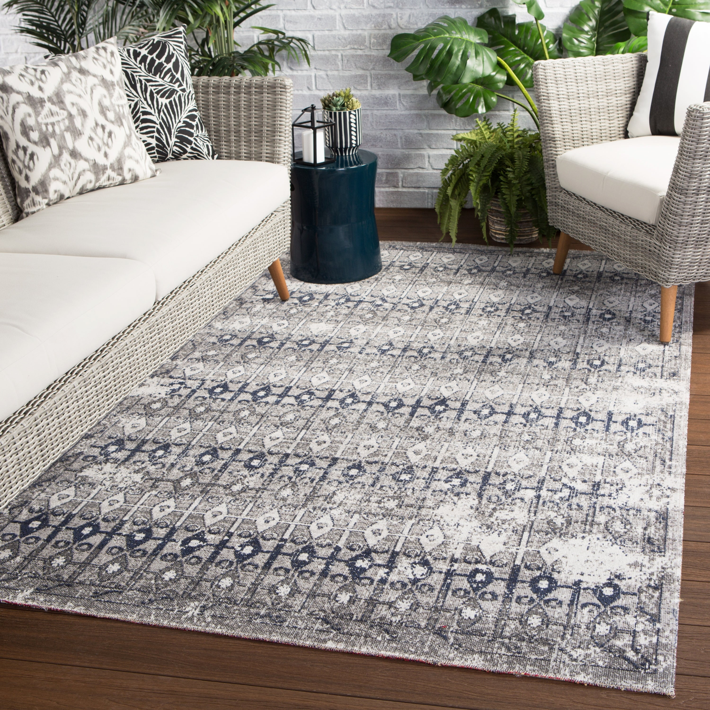 Barton Indoor Outdoor Trellis Area Rug Overstock 22466093 8 10 X 12 Grey Ivory