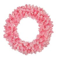 Pre-Lit Flocked Pink Artificial Christmas Wreath - 24-Inch, Clear Lights