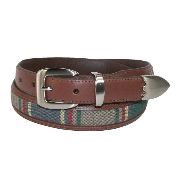 Aquarius Men's Leather 3 Piece Golf Belt with Fabric Inlay