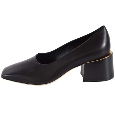 Burberry Women's Black Leather MARGRETTE Stacked Heel Shoes