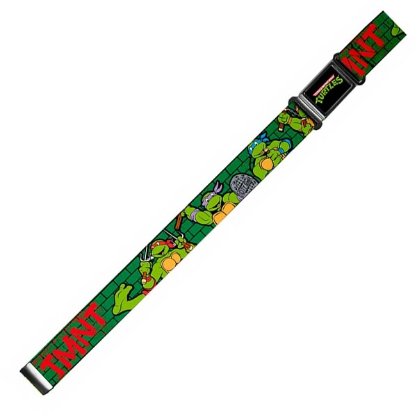 Classic Tmnt Logo Full Color Classic Tmnt Group Pose2 Tmnt Green Brick Magnetic Web Belt - S