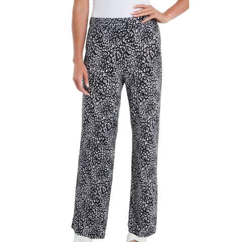 Vince Camuto Womens Pants Black Large L Leopard Wide Leg Crepe Stretch