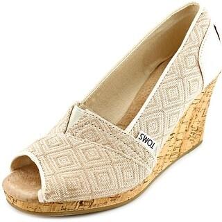 Toms Classics Woven Diamond Wedge W Open Toe Synthetic Wedge Heel