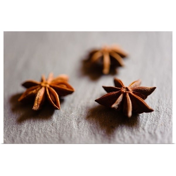"""""""Dried Star anise pods displayed on a slate tray."""" Poster Print"""