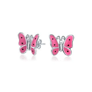 Tiny Dainty Pink Enamel Garden Butterfly Shaped Stud Earrings For Women For Teen 925 Sterling Silver
