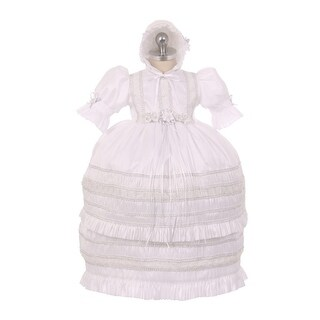 RainKids Baby Girls White Shantung Trim Ruffle 3 Pc Bonnet Baptism Gown