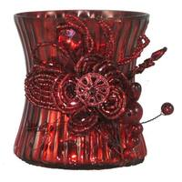 Set of 2 Cranberry Red Mercury Glass Votive Candle Holders with Beaded Clusters