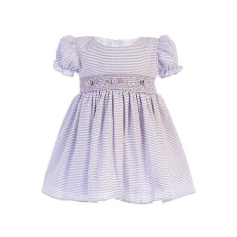 Lito Baby Girls Lilac Stripes Smocked Waist Easter Dress