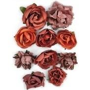 "Ruby - Paper Blooms 1"" - 1.5"" 10/Pkg"
