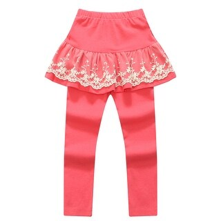 Richie House Girls' Salmon Pants with Lace Accented Skirt